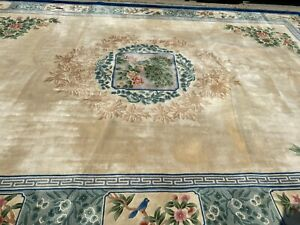 12-039-x-18-039-Chinese-Art-Deco-Peking-Oriental-Rug-Full-Pile-Hand-Made-100-Wool