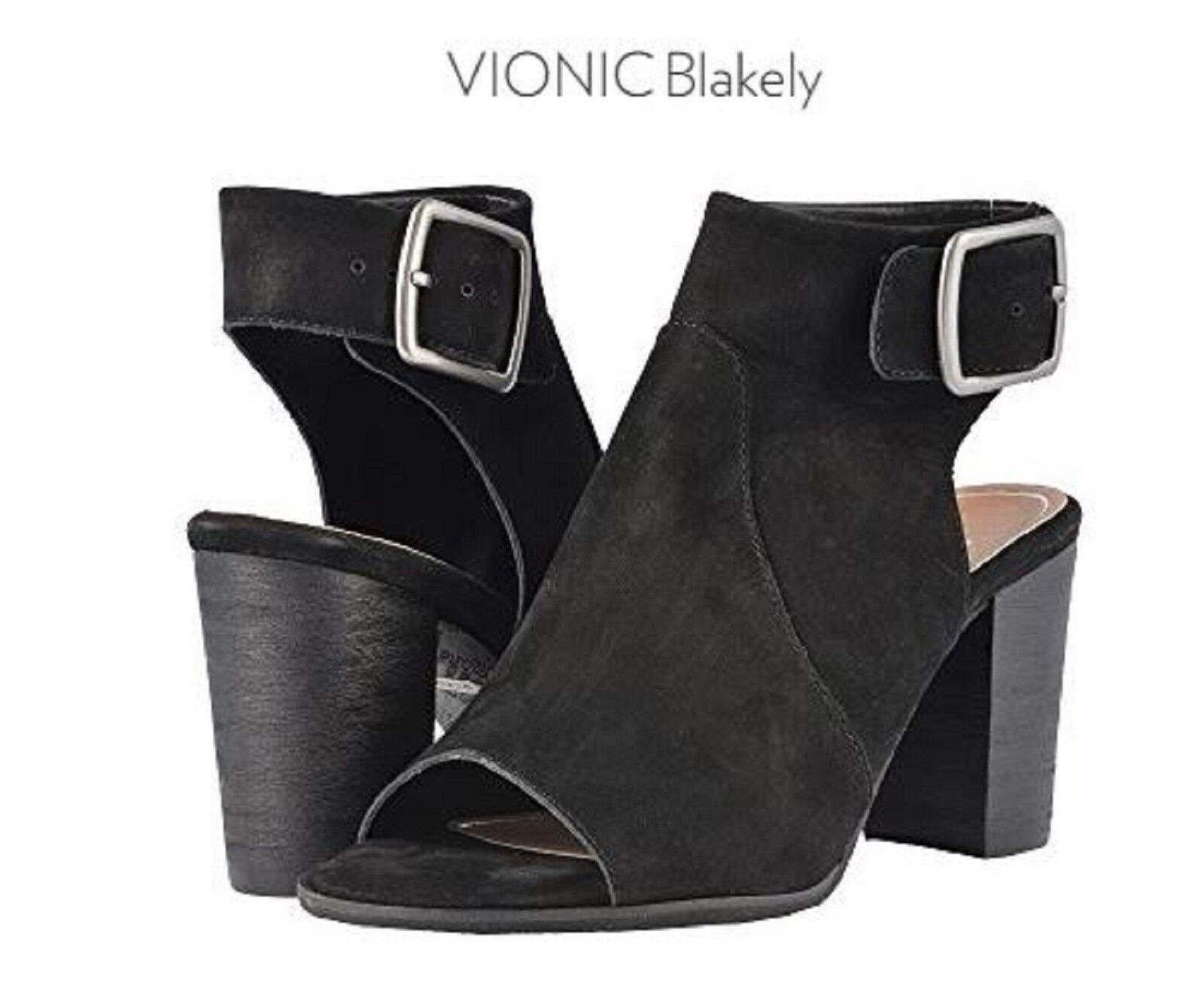 Vionic Orthaheel PERK BLAKELY Leder Heeled Sandales Schuhes BLACK Größe 11 W NIB