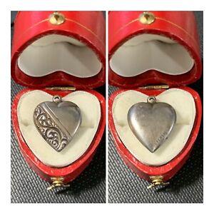 Vintage-1940-s-Sterling-Silver-Repousse-Puffy-Heart-Bracelet-Charm-Engravable