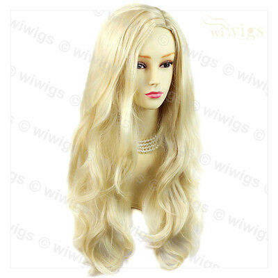 Long Layers Wavy Wig Light Blonde Ladies Wigs Skin Top From WIWIGS UK