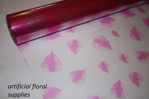 5m x 80cm LEAF clear tinted cellophane CHOOSE COLOUR gift wrapping packaging