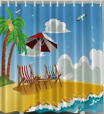 Beach Chair Ocean Fabric SHOWER CURTAIN Umbrella Palm Tree Seagulls Island Bath