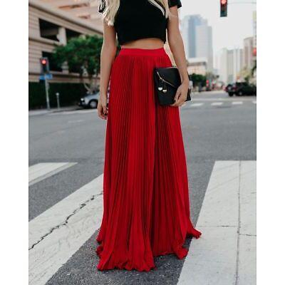CA Womens Casual Long Pleated Elastic Skirt High Waist Ladies Maxi Beach Skirts
