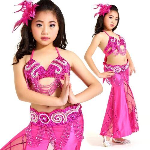 Top, Belt, Skirt 8 Colors K814# Kids Girls Belly Dance Costume