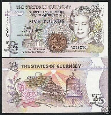 1996 QEII P-56 ND 5 pounds UNC 56c Guernsey