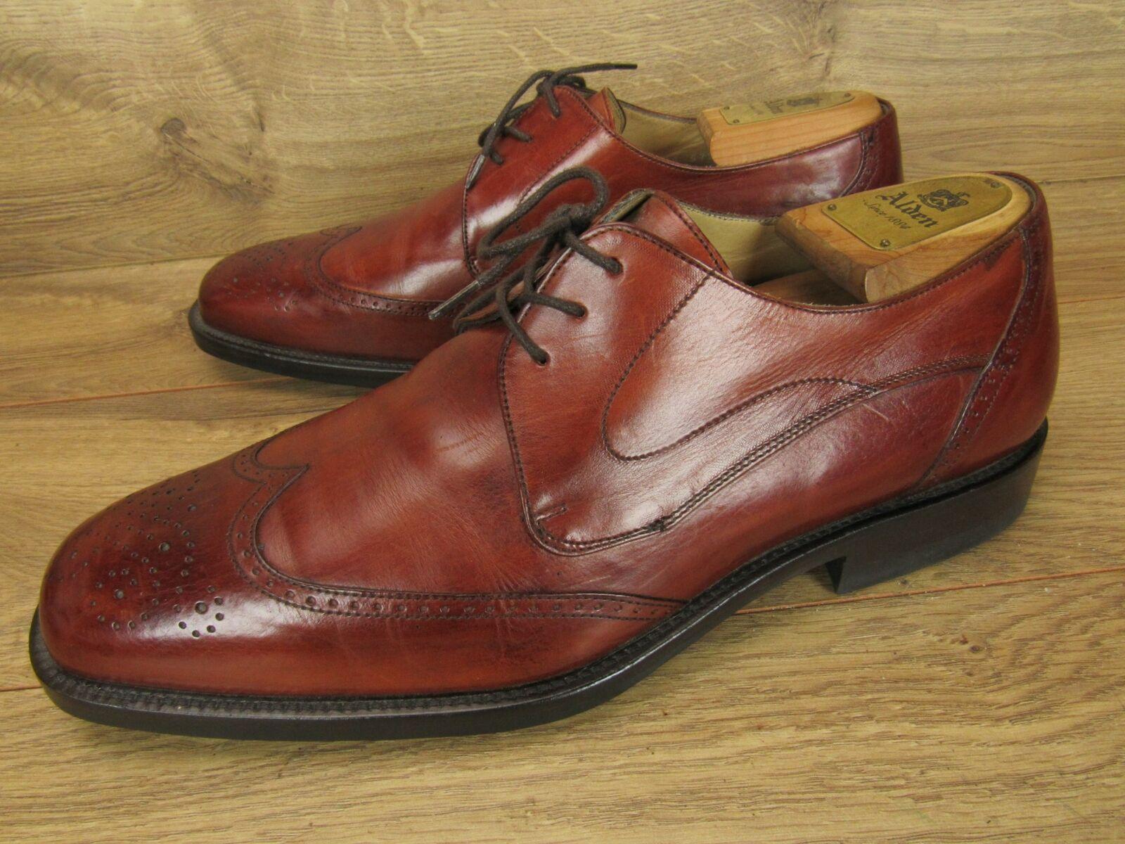Johnston Murphy Italia Para Hombre De Cuero Marrón & punta del ala Oxford Zapatos 9 W
