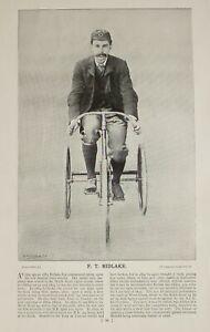 1896 Originale Caccia Stampa E Testo Ciclismo ~ F.T.Bidlake Tre Ruote