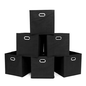 6PCS-11X11X11inch-Fabric-Storage-Bins-6-Cubes-case-Foldable-Organizator-Box-US