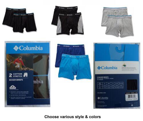Columbia Homme 2PK Moisture Wicking sous-vêtements Boxer ou Trunk S M L XL XXL