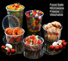 Round Food Containers Plastic Clear Storage Tubs with Lids Deli Pots [All Sizes]