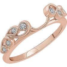 14k Rose Gold Diamonds Vintage Solitaire Wrap Ring Guard solitaire enhancer