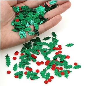 Christmas-HOLLY-amp-BERRY-Party-Table-Confetti-Decorations-Age-Sprinkles-Red-Green