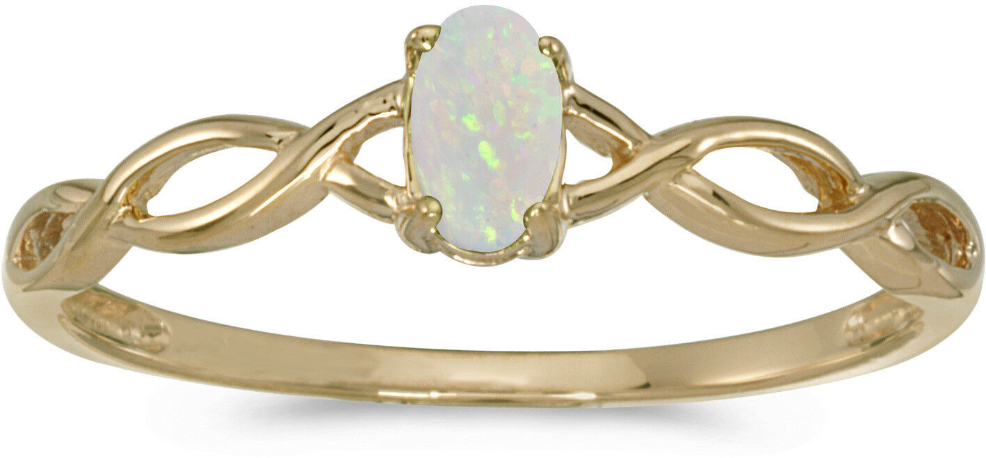 14k Yellow gold Oval Opal Ring (CM-RM2726X-10)