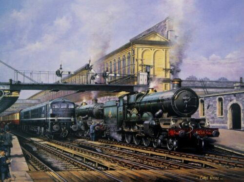 BEAUTIFUL PRINT PICTURE PAINTING STEAM TRAIN EXETER ST DAVIDS STAR CASTLE LOCOS