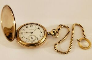 Antique-1890-WALTHAM-Victorian-Ladies-Gold-G-F-Full-Hunter-Pocket-Watch-w-Chain