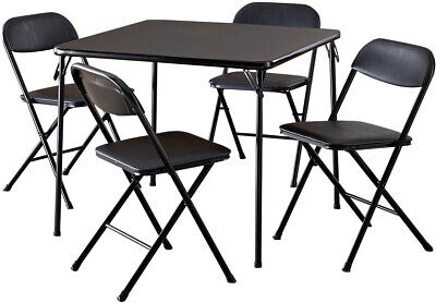 Outstanding Table And Chair Set Black Card Game Party 5 Piece Folding Vinyl Foam Pad Seat Ebay Unemploymentrelief Wooden Chair Designs For Living Room Unemploymentrelieforg