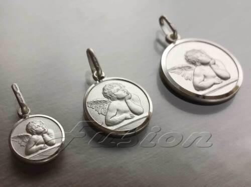 925 Sterling Silver Round Angel Pendant Charm Necklace Cherub Medallion