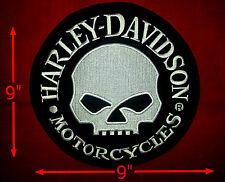 Harley Davidson Extra Large  9'' round Reflective Willey G Skull Patch