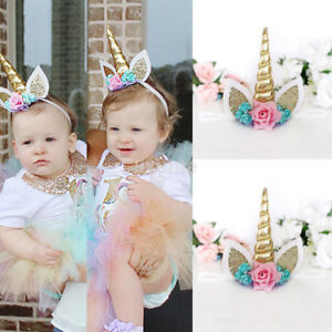 Fun Kids Baby Unicorn Horn Hair Band Headband Birthday Party Flower ... efb87dda6eb