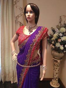 Sari Bollywood Indian Purple A81 Party Maroon Chiffon Saree Designer tqxOBBwY7