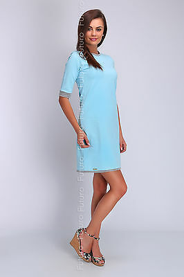 Womens Cocktail Shift Dress 3/4 Sleeve Casual Tunic Crew Neck Size 8 - 14 FA413
