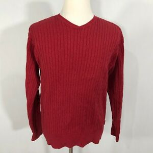IZOD Men Pullover V-Neck Cable Knit Sweater Top Size Large Red Long ... a3bac4d1d