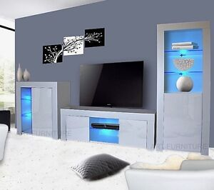 Modern Gloss Living Room Furniture Tv Unit Display Cabinet Cupboard Led Lights Ebay