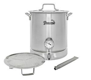 BREWSIE-Stainless-Steel-Home-Brew-Kettle-Set-Thermometer-Ball-Valve-Mash-Tun
