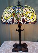 TIFFANY STYLE JEWELED STAINED GLASS LAMP LEAF BASE UNIQUE OVAL SHAPE