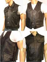 Mens Motorcycle Biker Waistcoat Vest Full Real Leather Black Choose Style & Size
