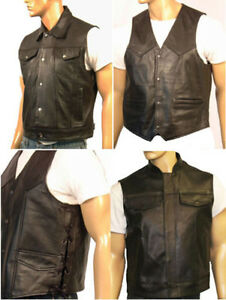 Mens-Motorcycle-Biker-Waistcoat-Vest-Full-Real-Leather-Black-Choose-Style-amp-Size