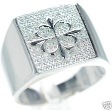 Men's Solid 925 Sterling Silver Simulated Diamond Cross Ring Size-11 '