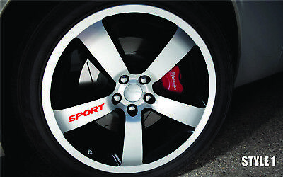 SPORT Decal Sticker Wheels Rims Racing Sport car Sticker Emblem logo 5pcs