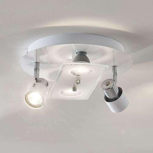 LED Deckenlampe Cleon Weiß Rund Strahler 3-stufig Dimmbar Lampenwelt GU10 LED