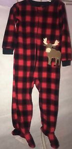 12985a005 Just One You by Carter's Toddler Plaid Red/Black Footed Fleece Moose ...