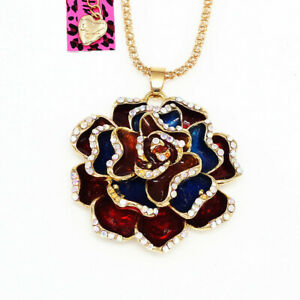 Betsey-Johnson-Enamel-Crystal-Rose-Flower-Pendant-Sweater-Chain-Necklace-Gift
