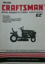 Sears 1997 Craftsman Lawn Garden Tractor Owner & Parts Manual 56p 917.258563 Mow