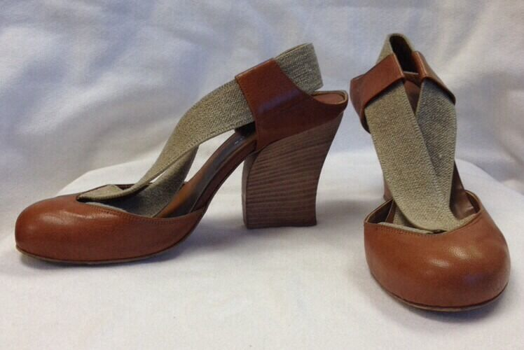 COLIN ROBERTSON Brown Leather Raw Linen Elastic Sling Back Wood Heel  7.5M
