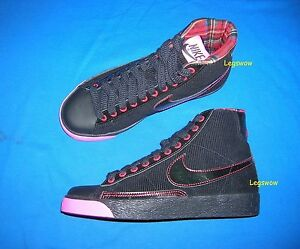 another chance 8ddc7 f0fd0 Details about Nike Blazer Mid Black Pink Red Sneakers Womens 6 New  Basketball Corduroy Hi Top