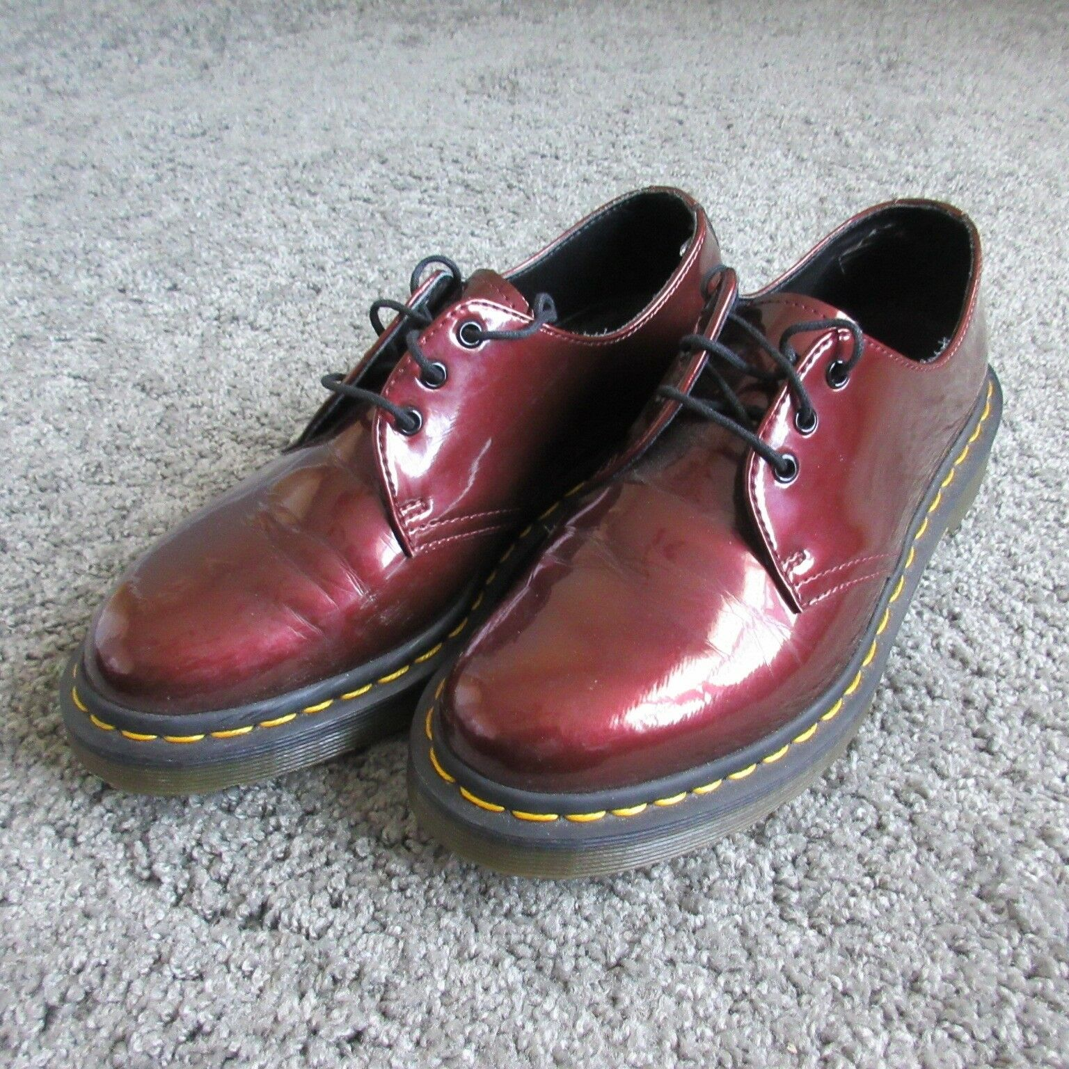 DR.MARTENS 10084 Uomo 7 MAROON RED PATENT LEATHER SHINY LOW BOOT OXFORD RARE