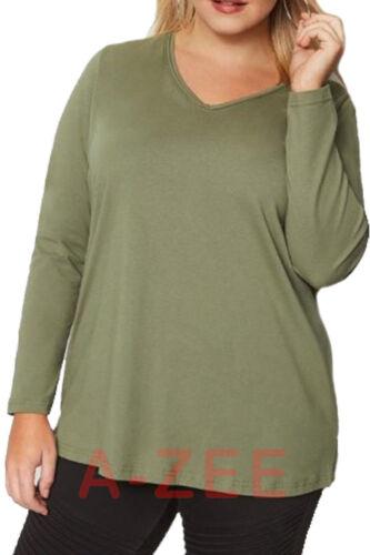 Ragazze Manica Lunga Top Da Donna v Collo Casual Plus Size Camicia T Shirt Tee Top