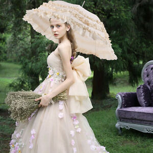 Girl's Princess Lace Umbrella Women's Sun/Rain Anti-UV Parasols Photography Prop