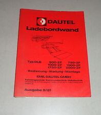 Bedienungsanleitung Dautel Ladebordwand DLB 500 / 750 / 1000 -  - 2F - 09/1981