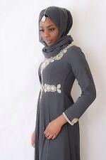 Abaya Maxi Hi-Low Dress Jilbab Kaftan Jalabia Farasha Anarkali Dress Grey Small