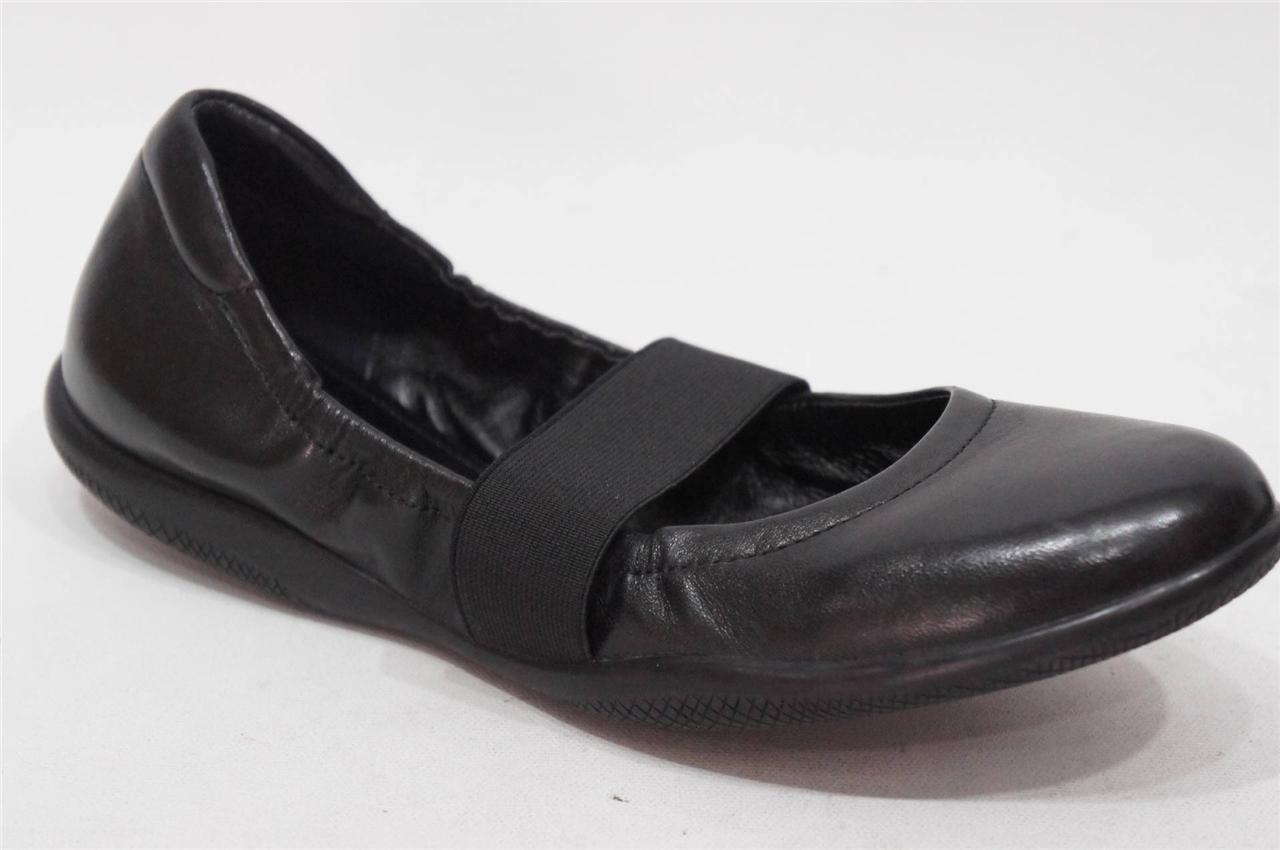 PRADA PRADA PRADA  BALLET BLACK LEATHER ELASTICIZED FLAT SHOES  37.5/7 $390 92df7b