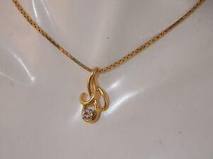 Vintage-14K-Y-Gold-CZ-Solitaire-Elegant-Pendant-16-034-Box-Chain-Necklace-Italy