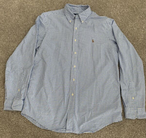 Mens-Polo-Ralph-Lauren-Classic-Fit-Blue-Check-Oxford-Dress-Shirt-Size-Large-L