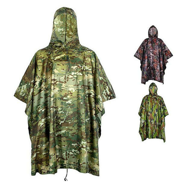 Outdoor Hooded Poncho Waterproof Cloak Cycling Camping Camouflage Raincoat