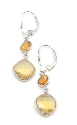 Citrine Dangle Earrings,14K White Gold Leverbacks