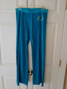 Women-Juicy-Couture-Teal-Velour-Bling-Lounge-Sweat-Pants-Size-S-USA